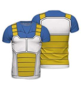 Abystyle - Dragon Ball - Size L - Replica T-Shirt - Vegeta - Giallo E Azzurro - Uomo - Saiyan - Cosplay